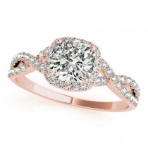 Twisted Cushion Diamond Engagement Ring 18k Rose Gold (1.50ct)