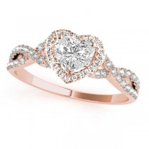 Twisted Heart Diamond Engagement Ring 18k Rose Gold (1.50ct)