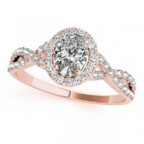 Twisted Oval Moissanite Engagement Ring 18k Rose Gold (0.50ct)