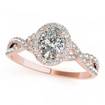 Twisted Oval Diamond Engagement Ring 18k Rose Gold (1.00ct)