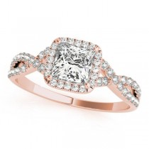 Twisted Princess Diamond Engagement Ring 18k Rose Gold (1.00ct)