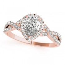 Twisted Pear Moissanite Engagement Ring 18k Rose Gold (0.50ct)