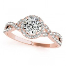 Twisted Round Moissanite Engagement Ring 18k Rose Gold (1.50ct)