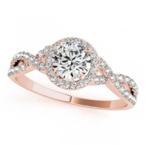 Twisted Round Diamond Engagement Ring 18k Rose Gold (0.50ct)