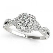 Twisted Cushion Diamond Engagement Ring 18k White Gold (1.50ct)