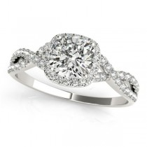 Twisted Cushion Moissanite Engagement Ring 18k White Gold (0.50ct)