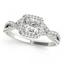 Twisted Princess Moissanite Engagement Ring 18k White Gold (0.50ct)