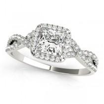 Twisted Princess Moissanite Engagement Ring 18k White Gold (1.50ct)