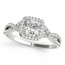 Twisted Princess Diamond Engagement Ring 18k White Gold (0.50ct)