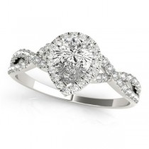 Twisted Pear Moissanite Engagement Ring 18k White Gold (1.00ct)