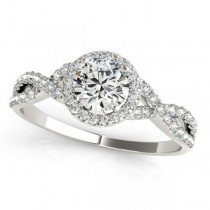 Twisted Round Moissanite Engagement Ring 18k White Gold (1.00ct)