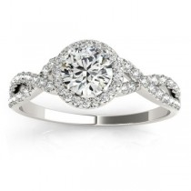 Twisted Infinity Halo Engagement Ring Setting 18k White Gold (0.20ct)