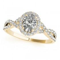 Twisted Oval Moissanite Engagement Ring 18k Yellow Gold (0.50ct)