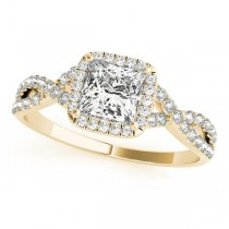 Twisted Princess Moissanite Engagement Ring 18k Yellow Gold (0.50ct)