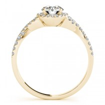 Twisted Round Moissanite Engagement Ring 18k Yellow Gold (0.50ct)