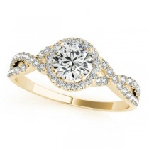 Twisted Round Diamond Engagement Ring 18k Yellow Gold (0.50ct)
