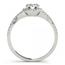 Twisted Lab Grown Diamond Infinity Halo Engagement Ring Setting 14k White Gold (0.20ct)