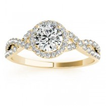 Twisted Lab Grown Diamond Infinity Halo Engagement Ring Setting 18k Yellow Gold (0.20ct)