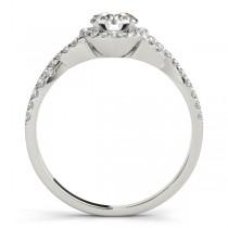 Twisted Lab Grown Diamond Infinity Halo Engagement Ring Setting Platinum (0.20ct)
