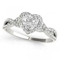 Twisted Heart Diamond Engagement Ring Palladium (1.00ct)