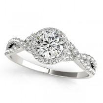 Twisted Round Diamond Engagement Ring Platinum (1.50ct)