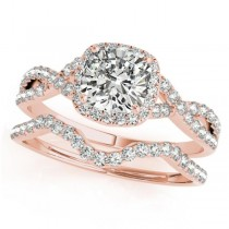 Twisted Cushion Diamond Engagement Ring Bridal Set 14k Rose Gold (1.07ct)