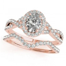 Twisted Oval Diamond Engagement Ring Bridal Set 14k Rose Gold (1.07ct)