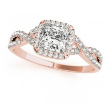 Twisted Princess Moissanite Bridal Sets 14k Rose Gold (0.57ct)