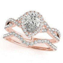Twisted Pear Diamond Engagement Ring Bridal Set 14k Rose Gold (1.57ct)