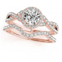 Twisted Round Diamond Engagement Ring Bridal Set 14k Rose Gold (0.57ct)