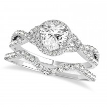 Twisted Heart Diamond Engagement Ring Bridal Set 14k White Gold (1.57ct)