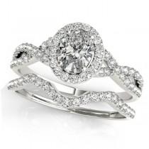 Twisted Oval Diamond Engagement Ring Bridal Set 14k White Gold (1.07ct)