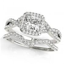 Twisted Princess Diamond Engagement Ring Bridal Set 14k White Gold (0.57ct)