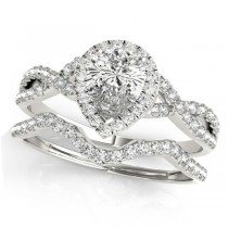 Twisted Pear Diamond Engagement Ring Bridal Set 14k White Gold (1.07ct)