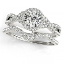 Twisted Round Diamond Engagement Ring Bridal Set 14k White Gold (0.57ct)