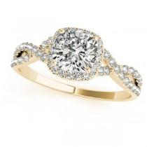 Twisted Cushion Moissanite Bridal Sets 14k Yellow Gold (0.57ct)