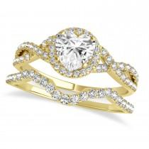 Twisted Heart Diamond Engagement Ring Bridal Set 14k Yellow Gold (1.07ct)