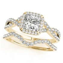 Twisted Princess Diamond Engagement Ring Bridal Set 14k Yellow Gold (0.57ct)