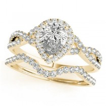 Twisted Pear Diamond Engagement Ring Bridal Set 14k Yellow Gold (1.07ct)