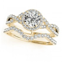 Twisted Round Moissanite Bridal Sets 14k Yellow Gold (1.57ct)
