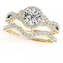 Twisted Round Diamond Engagement Ring Bridal Set 14k Yellow Gold (1.07ct)