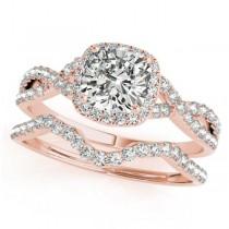 Twisted Cushion Diamond Engagement Ring Bridal Set 18k Rose Gold (1.07ct)
