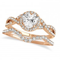 Twisted Heart Diamond Engagement Ring Bridal Set 18k Rose Gold (1.07ct)