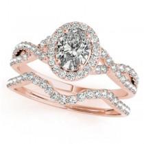 Twisted Oval Diamond Engagement Ring Bridal Set 18k Rose Gold (1.57ct)