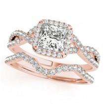 Twisted Princess Diamond Engagement Ring Bridal Set 18k Rose Gold (1.07ct)