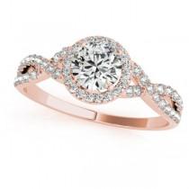 Twisted Round Moissanite Bridal Sets 18k Rose Gold (1.07ct)