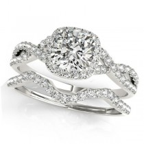 Twisted Cushion Diamond Engagement Ring Bridal Set 18k White Gold (1.07ct)