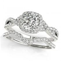 Twisted Cushion Diamond Engagement Ring Bridal Set 18k White Gold (1.57ct)