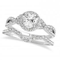 Twisted Heart Diamond Engagement Ring Bridal Set 18k White Gold (1.57ct)