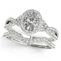 Twisted Oval Diamond Engagement Ring Bridal Set 18k White Gold (1.07ct)